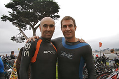 Pacific Grove Triathlon - Getting ready (Fabio Costa) Tags: friendship nick area toyota olympic pacificgrove transition triathlon wetsuit