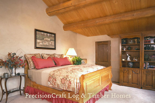 Post & Beam Handcrafted Log Home Bedroom | Home located in Sun Valley, Idaho | by PrecisionCraft Log Homes & Timber Homes,house, interior, interior design