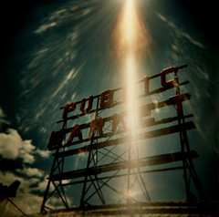 signs from heaven (microabi) Tags: seattle sign holga magic again pikeplacemarket publicmarket
