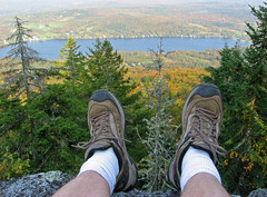 Elmore Mt. View (Kirpernicus) Tags: autumn trees mountain lake color fall leaves vermont view boots hiking hike foliage merrell hikingboots interestingness107 i500 flickrsbest elmoremountain lakeelmore explore23september07