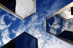 Y (Dara Mulhern) Tags: blue sky sculpture 3 berlin clouds reflections germany mirror three memorial mirrors u bahn hausvogteiplatz