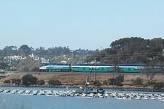 A northbound Coaster skitters across a lagoon just south of Carlsbad, Ca
