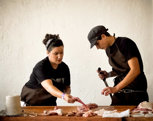 Amelia and Tim ~ At Artisanal LA Lindy & Grundy Butchering Demo