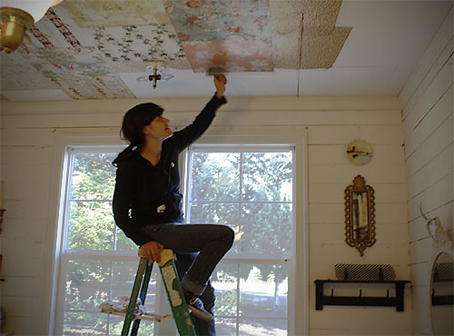 Erica Pasting Wallpaper Squares