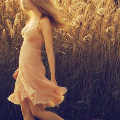 Sun & Breeze IV (ilina s) Tags: pink summer portrait woman sun sunlight grass backlight weeds dress wind longhair warmth mysterious breeze ilinas
