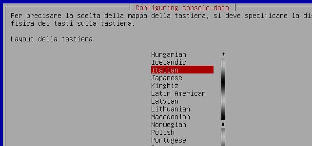 Figura 7 - Scelta del layout italiano della tastiera;
