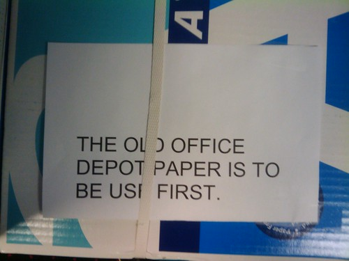 THE OLD OFFICE DEPOT PAPER IS TO BE USED FIRST.