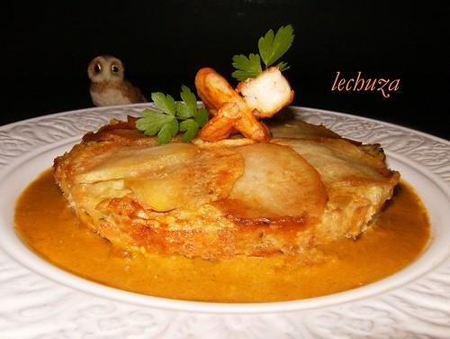 Pastel de pescado y marisco-plato.