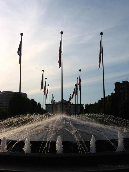 Fountain and Flags