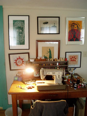 mom's sewing corner with dad's woodprints