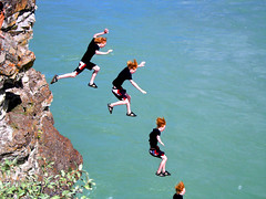 Greg Sequence 1-adjusted (I voted for Kodos) Tags: blue summer cliff canada river jumping rocks cliffs rapids alberta summertime sequence seebe cliffjumping raging greggins igotawickedbadsunburnonmybackonthisday