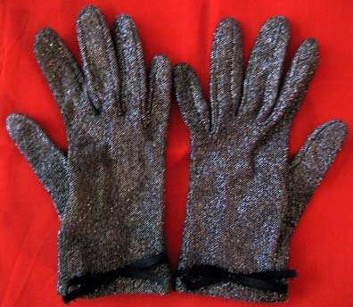 Black sparkly gloves
