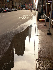 Empire State puddle (pete.biggs) Tags: street new york nyc newyork reflection building wet rain puddle state manhattan empire empirestatebuilding empirestate