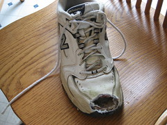 Shoe.  What's left of it anyway. (belle_velma) Tags: accident lawn mower