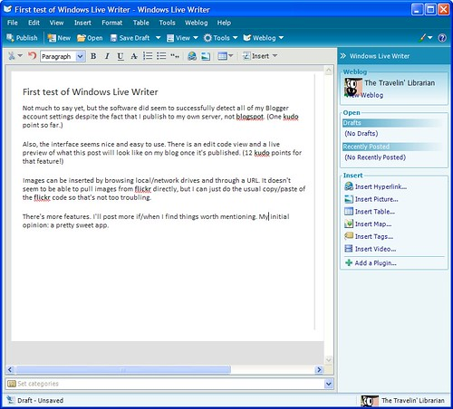Screen-shot of Windows Live Writer