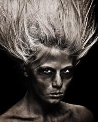The devil inside (LalliSig) Tags: portrait blackandwhite bw brown black girl fashion sepia dark studio iceland cool eyes moody highcontrast evil dirty portraiture angry devil mystical gaze