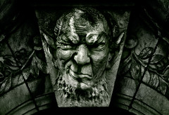 Scary Gargoyle (Martin Gommel) Tags: blackandwhite bw white black colour green smile face stone architecture germany dark nose deutschland eyes gesicht badass streetphotography ears gargoyle devil augen karlsruhe nase ohren kwerfeldein martingommel nonature
