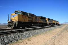 Sibyl Road - UP intermodal train heading to Tuscon (Mark Vogel) Tags: railroad arizona cactus up train desert eisenbahn railway az container sp unionpacific arid intermodal chemindefer doublestacks containertrain sunsetroute