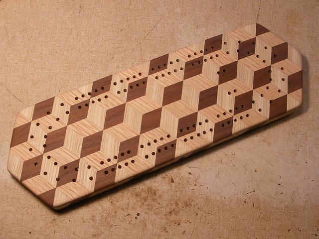 Making a Tumbling Block Cribbage Board #32