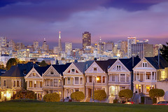 City Lights, Alamo Square, San Francisco, California (PatrickSmithPhotography) Tags: sanfrancisco sunset skyline architecture buildings twilight downtown victorians paintedladies landscapecityscape visipix