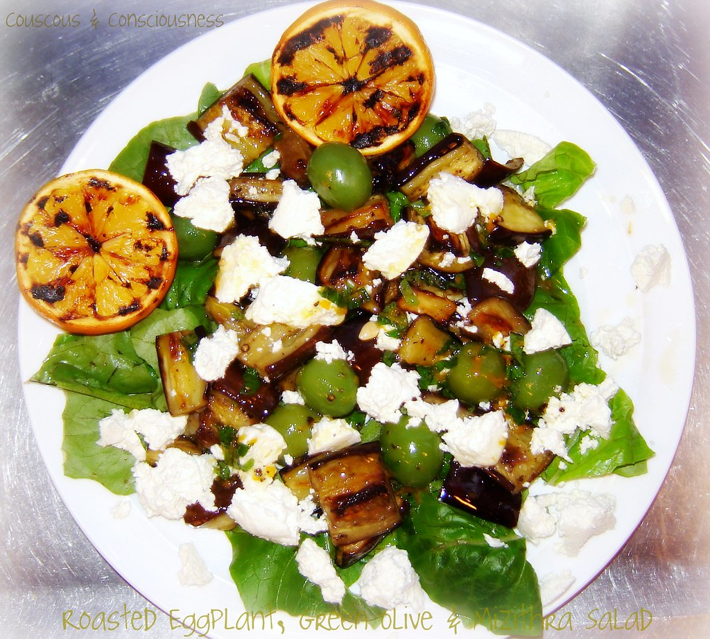 Roasted Eggplant, Green Olive & Mizithra Salad 2, edited