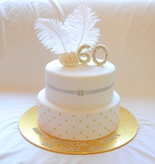 Marcy's 60th (Its A Cake Thing (Jho)) Tags: silver gold feathers cachous 60thbirthdaycake celebrationcake