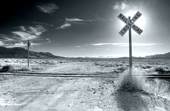 Railroad Crossing (Dynamic BW) (sandy.redding) Tags: california blackandwhite monochrome landscape desert hdr optikverve nikkor1855mmf3556g shotwithmikebyrne