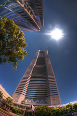Yokohama Landmark tower at noon (The Other Martin Tenbones) Tags: street building japan landmark fisheye yokohama 400d