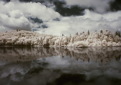 Rare lands (IrenaS) Tags: trees lake mountains clouds reflections landscape bravo infrared colorinfrared naturesfinest magicdonkey specland artlibre holidaysvancanzeurlaub