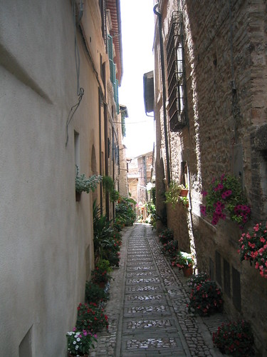 Spello, typical street in an Umbrian hil town