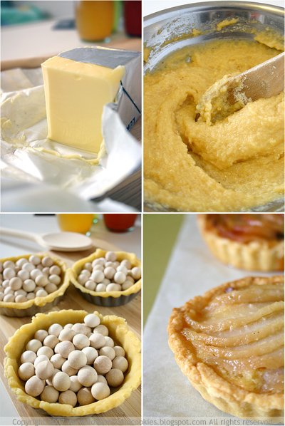 Butter, Almond filling, Pie weights, Pear Tarts