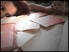 sentimental ..... (Meghna Sejpal) Tags: selfportrait love writing eyes teddy letters gift greetings meghna feelings sentiments divyesh sejpal bsbsentimental saraakshar