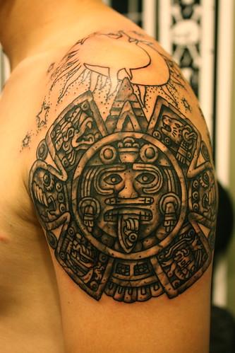 aztec calendar tattoo by Hubba Hubba Tattoo