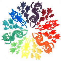 Color Wheel with Cats and Mice