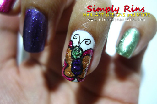 Nail Art Caronia Butterfly 06