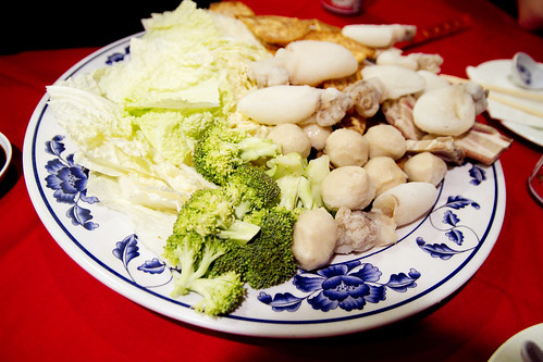 broccoli, cabbage, fish balls, baby cuttlefish, taro