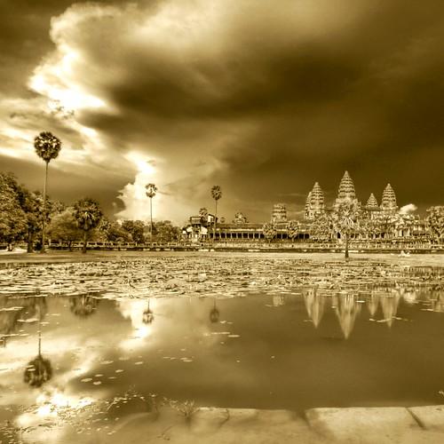 Evening Night Bathing Angkor Wat under Impending Storm