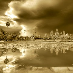 Evening Night Bathing Angkor Wat under Impending Storm