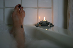 frog prince (JKnig) Tags: light me tattoo self dark spiral foot bath toes candle bubbles towel tiles celtic triskele feh iknowiknow mylowerbackiskillingme mykneeiskillingme butnooooooigottagotophysicaltherapy anddothatwholehealingthing cantagirlwhinealittleonamondaymorning iwishiwasdoingthisrightnow andallsiwannadoissinkintoabubblybathtubandescapeforawhile