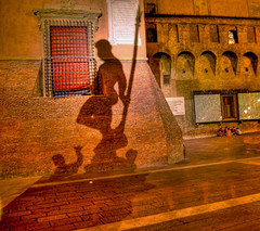 Divine presence (Vesuviano - Nicola De Pisapia) Tags: shadow red italy fountain night italia god bologna neptune fontana hdr italians absence nettuno rossa 10faves nighthdr vesuviano aplusphoto negativeteology