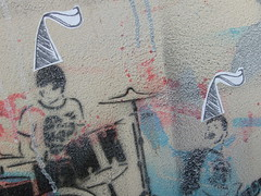 Gorritos! (la renata) Tags: urban streetart uruguay calle stencil sticker gorro fairy stick sombrero montevideo astroboy artecallejero intervencin pegotn escaleradeprato