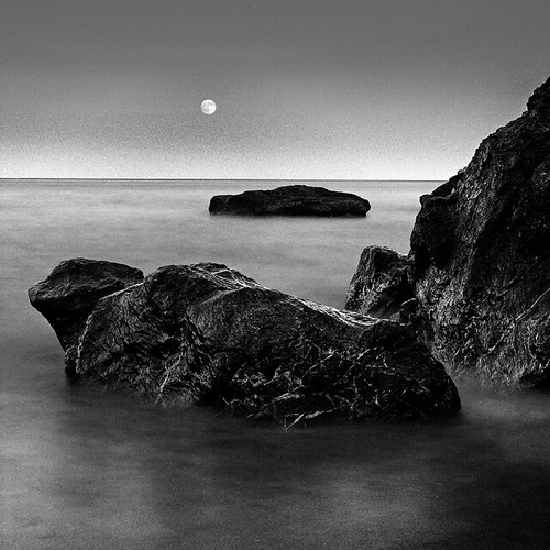 Water, rocks, moon