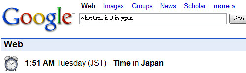Google Search (what time is it in japan)