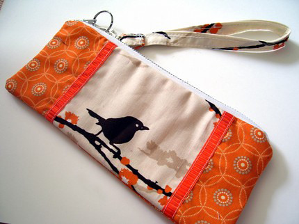 Brown bird orange wristlet : Asian iCandy Store, Unique Asian Arts and Gifts From Independent Artists