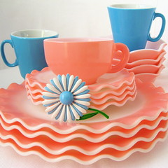 Vintage Pink & Blue Dishes (Picnic by Ellie) Tags: pink blue flower cup vintage ruffles plate dishes saucer crinoline