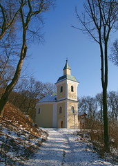 Nitrianska Blatnica Chapel, Slovakia (johan.pipet) Tags: old blue winter sky moon snow tree history church forest way eos ancient europe roman path chapel slovensko slovakia rotunda palo middleage bartos 400d anawesomeshot anticando platinumpeaceaward barto