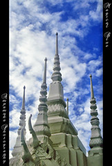Magical Blue /  (AmpamukA) Tags: travel blue sky cloud white statue architecture temple place bangkok thai wat bkk     rakang