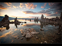 Tufa Sunset (Pear Biter) Tags: sunset sky reflection water stone landscape evening monolake rockformation tufatower statenaturereserve