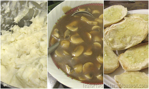 Mashed Potato, Beef and Mushroom Gravy, Garlic Bread