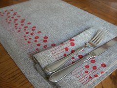 Red Poppy Placemats and Napkins